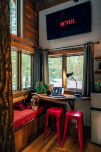 Gemütliches Zimmer mit Hund